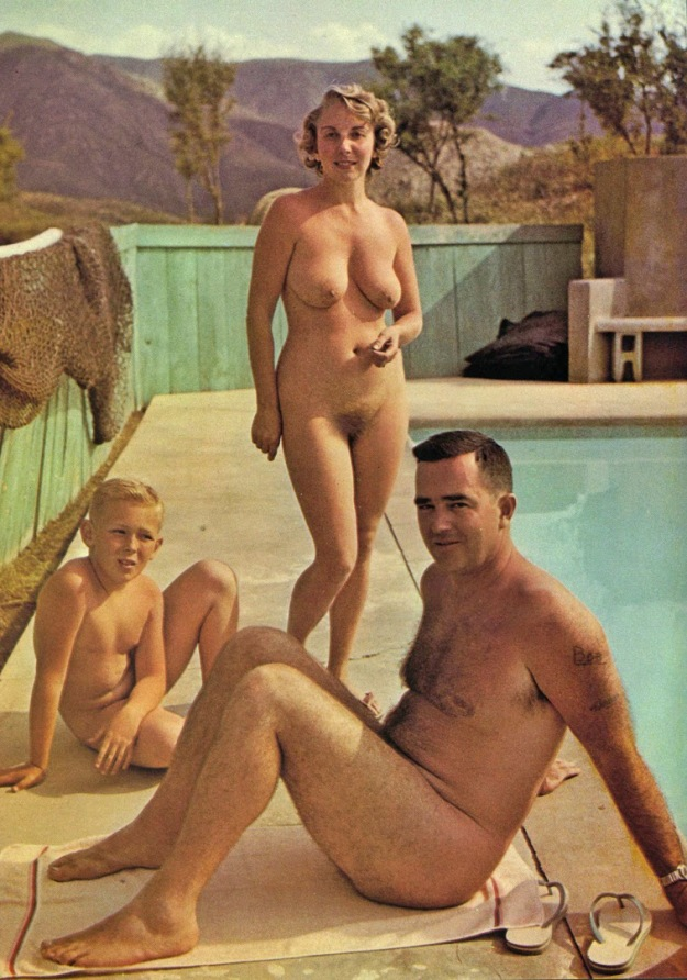 nudist family near the pool