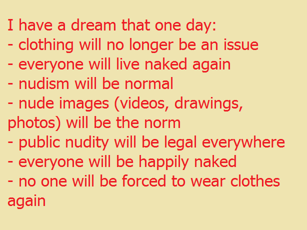 I have a dream of this in nudism